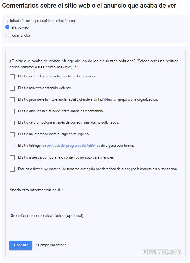 Comentarios sobre el sitio web o el anuncio que acaba de ver