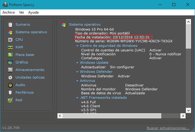 Fecha de instalación de Windows con Speccy