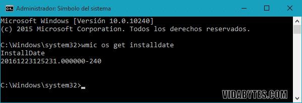 Obtener fecha de inslación de Windows