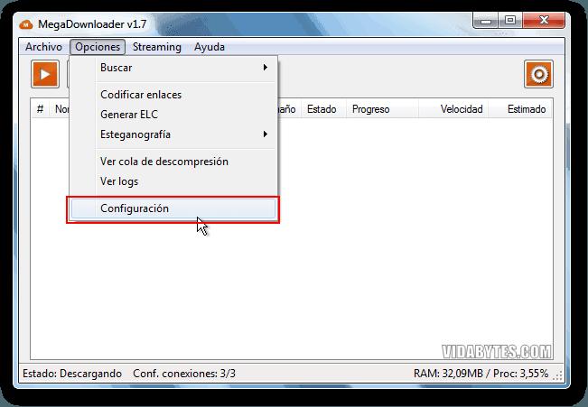Configuración MegaDownloader
