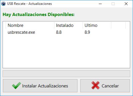 Actualizaciones automáticas USB Rescate Plus