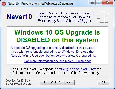 Actualización a Windows 10 deshabilitada
