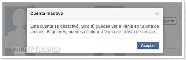 Cuenta inactiva en Facebook