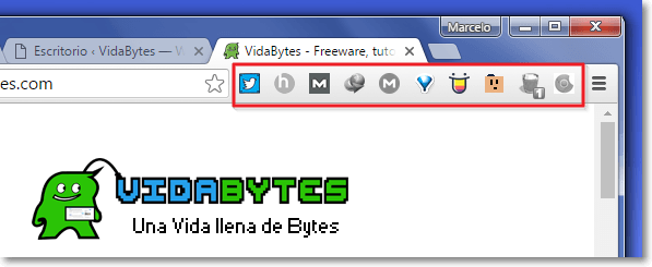 Extensiones instaladas en Chrome
