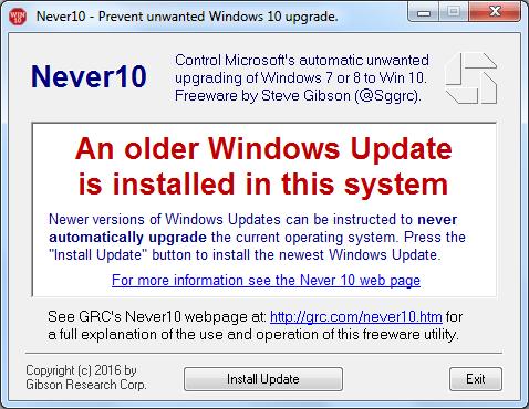 Vieja actualización de Windows instalada