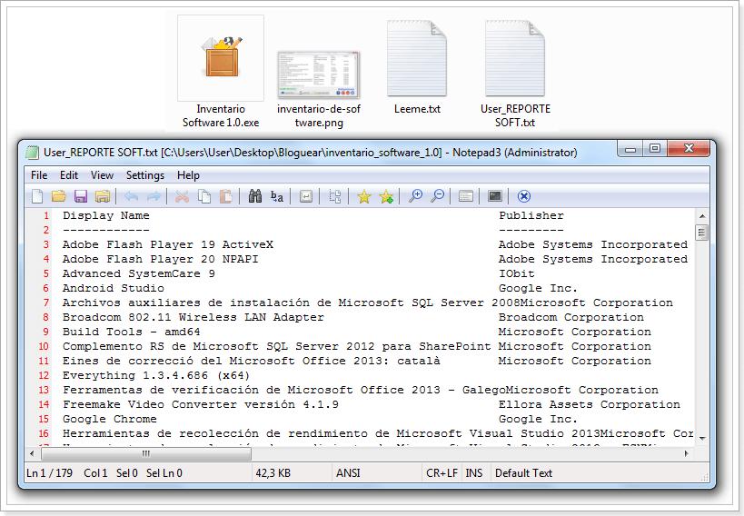 Reporte Inventario de Software