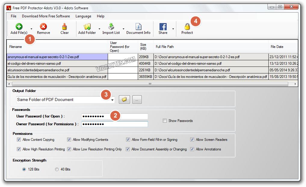 Proteger PDF masivamente