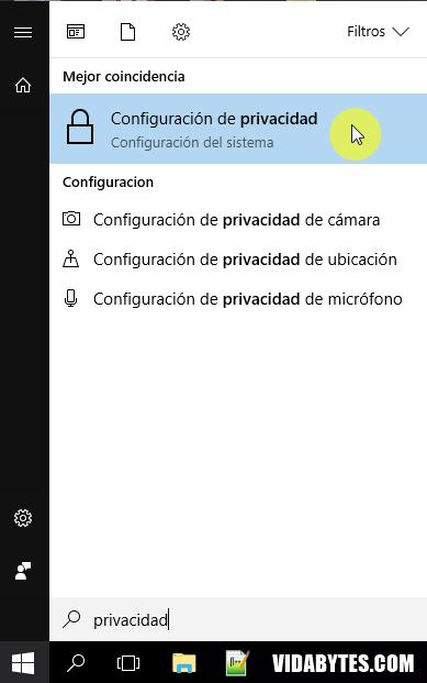 Configuración de privacidad Windows 10