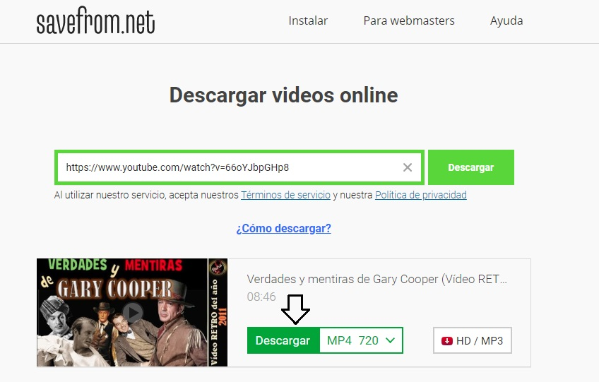 descargar videos savefrom