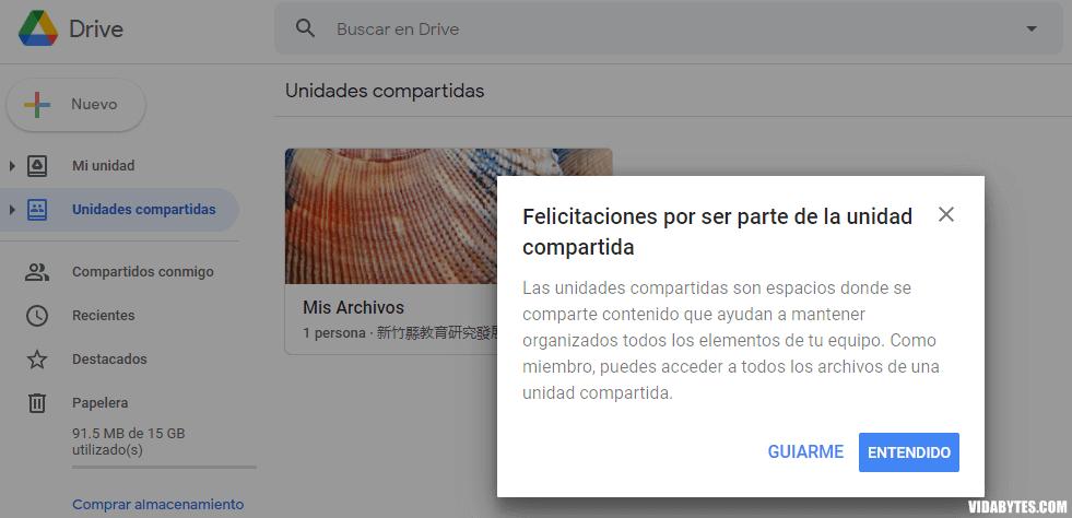 Google Drive Unidades compartidas